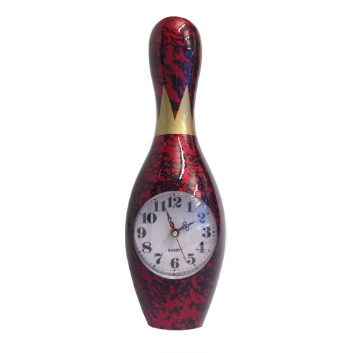 Bowling Clock Wall Red